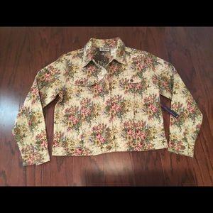 Vtg Bill Blass Jeans tapestry Jean jacket M